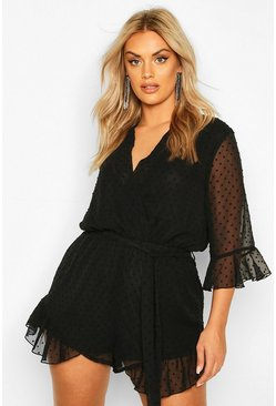 Black Plus Dobby Mesh Ruffle Wrap Tie Playsuit