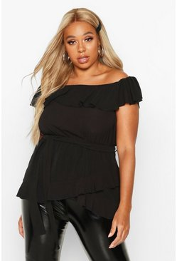Black Plus Woven Off Shoulder Ruffle Self Tie Top