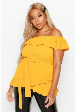 Mustard Plus Woven Off Shoulder Ruffle Self Tie Top