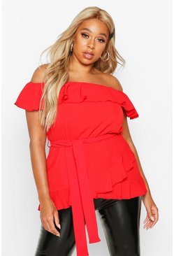Red Plus Woven Off Shoulder Ruffle Self Tie Top
