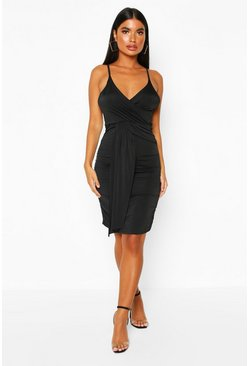 Black Petite Drape Front Slinky Dress