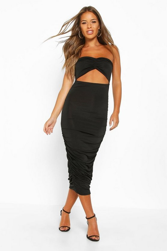 Black Petite Cut Out Slinky Ruched Bandeau Midi Dress