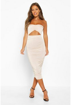 Womens Champagne Petite Cut Out Slinky Ruched Bandeau Midi Dress