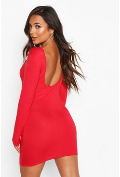 Red Petite Basic Long Sleeve Scoop Back Dress