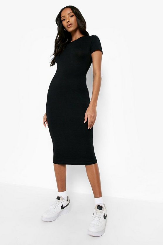 Womens Black Petite Basic Cap Sleeve Midi Dress