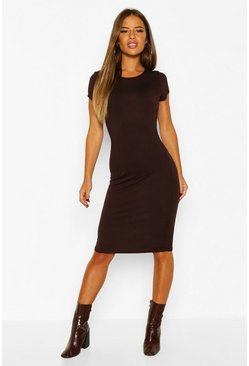 Chocolate Petite Basic Cap Sleeve Midi Dress