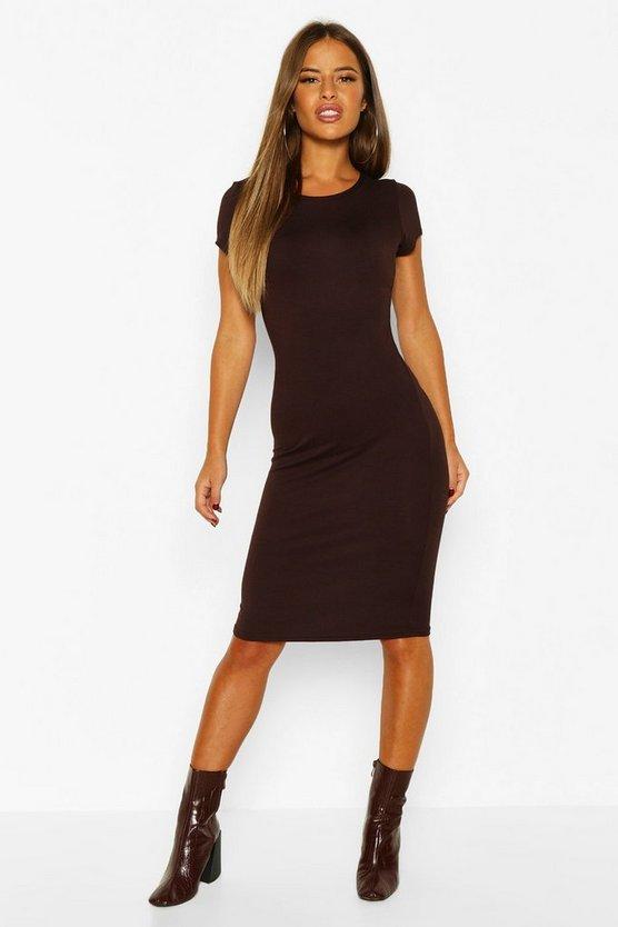Petite Basic Cap Sleeve Midi Dress