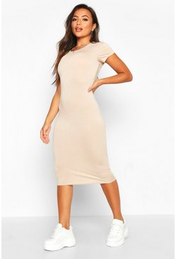 Womens Stone Petite Basic Cap Sleeve Midi Dress