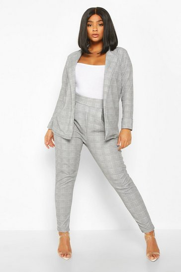 Womens Black Plus Prince Of Wales Check Suit Co-Ord