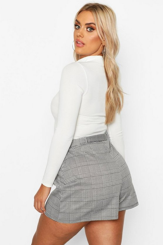 Plus Dogtooth Check Tailored Belt Shorts