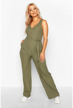 Womens Khaki Plus Horn Button Rib Tie Belt Pocket Jumpsuit
