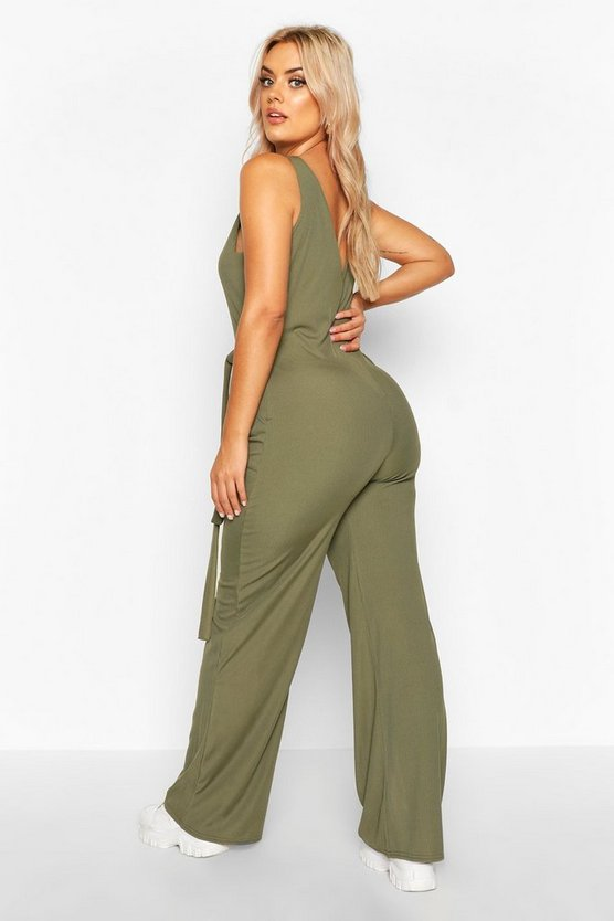 Plus Horn Button Rib Tie Belt Pocket Jumpsuit