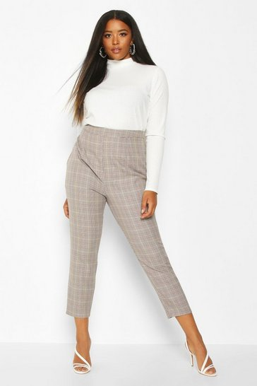 Womens Stone Plus Check Tailored Trouser