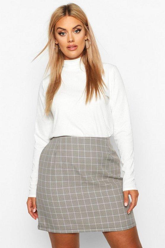 Plus Check A Line Mini Skirt by Boohoo