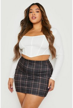 Womens Brown Plus Check Woven Mini Skirt