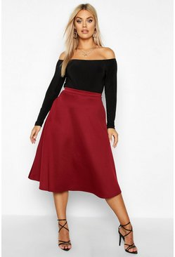 Womens Berry Plus Basic Plain Full Circle Midi Skater Skirt