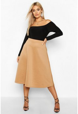 Womens Camel Plus Basic Plain Full Circle Midi Skater Skirt