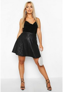 Womens Black Plus Croc Pu Coated Skater Skirt