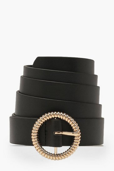 Womens Black Plus Gold Twist Detail O Ring Belt