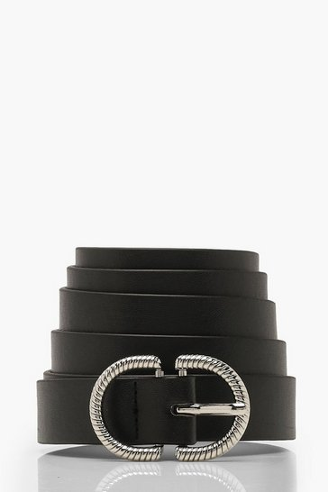 Womens Black Plus Silver Buckle Waist Belt