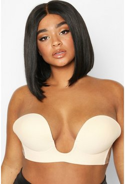 Womens Nude Plus Deep V Stick On Bra