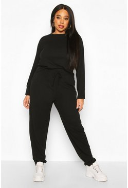 Womens Black Plus Soft Rib Long Sleeve Jogger Set