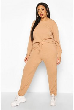 Camel Plus Soft Rib Long Sleeve Jogger Set