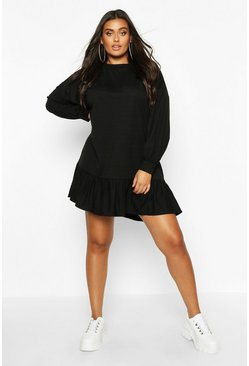 Black Plus Ruffle Hem Oversized Sweat Dress