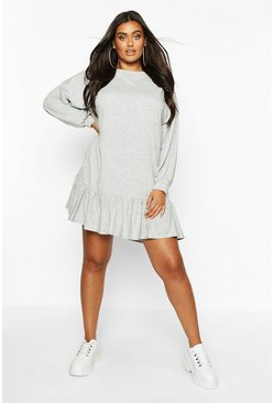 Grey Plus Ruffle Hem Oversized Sweat Dress