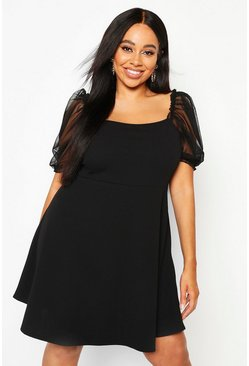 Womens Black Plus Organza Puff Sleeve Skater Dress