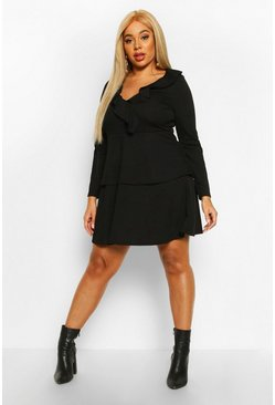 Dam Black Plus Ruffle Layered Long Sleeve Skater Dress