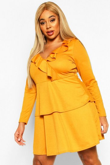 Mustard Plus Ruffle Layered Long Sleeve Skater Dress