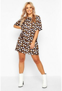 Dam Black Plus Floral Cap Sleeve T-shirt Dress