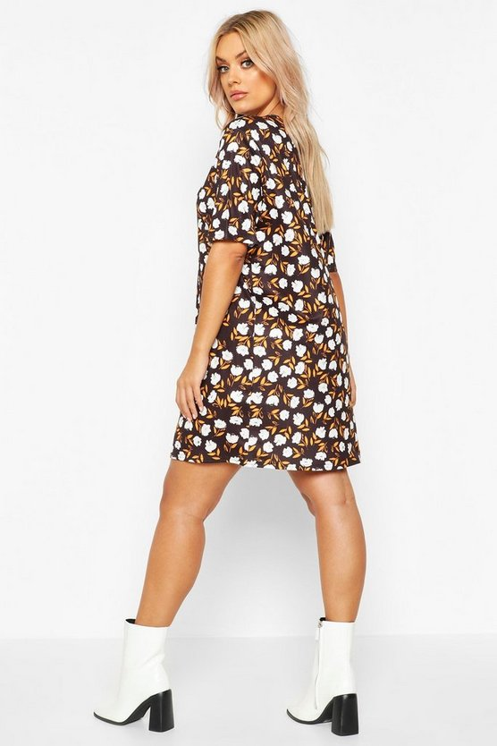 Plus Floral Cap Sleeve T-shirt Dress