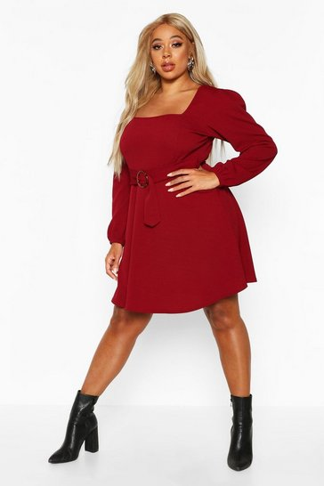 Berry Plus Bloujon Sleeve Tie Belted Skater Dress