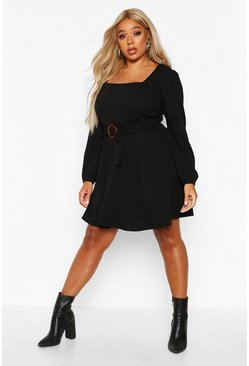 Womens Black Plus Bloujon Sleeve Tie Belted Skater Dress