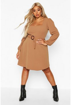 Womens Camel Plus Bloujon Sleeve Tie Belted Skater Dress