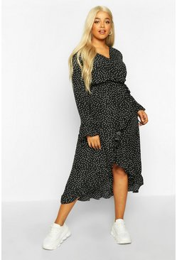 Womens Black Plus Polka Dot Ruffle Wrap Midi Dress