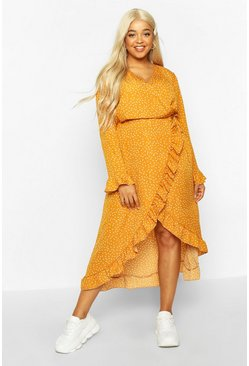 Dam Mustard Plus Polka Dot Ruffle Wrap Midi Dress