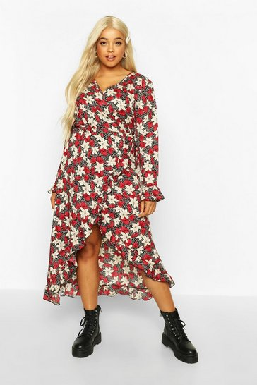 Womens Red Plus Floral Ruffle Wrap Midi Dress
