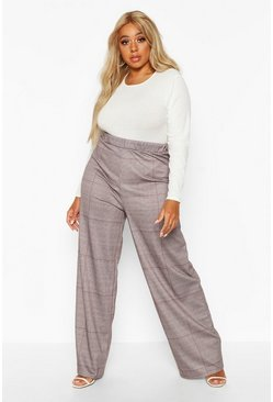 Black Plus Dog Tooth Wide Leg Trousers