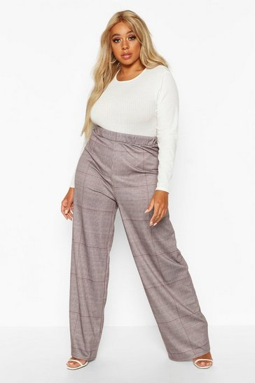 Womens Black Plus Dog Tooth Wide Leg Trousers