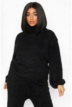 Womens Black Plus Super Soft Knitted Roll Neck Jumper