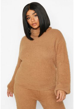 Camel Plus Super Soft Knitted Roll Neck Jumper