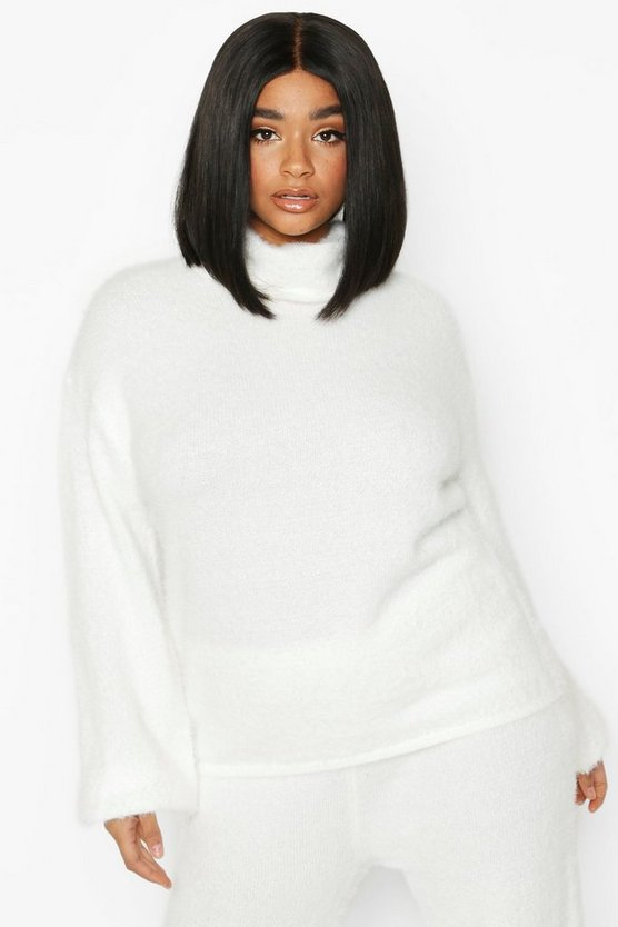 Ivory Plus Super Soft Knitted Roll Neck Jumper
