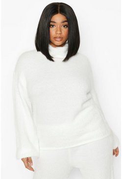 Womens Ivory Plus Super Soft Knitted Roll Neck Jumper