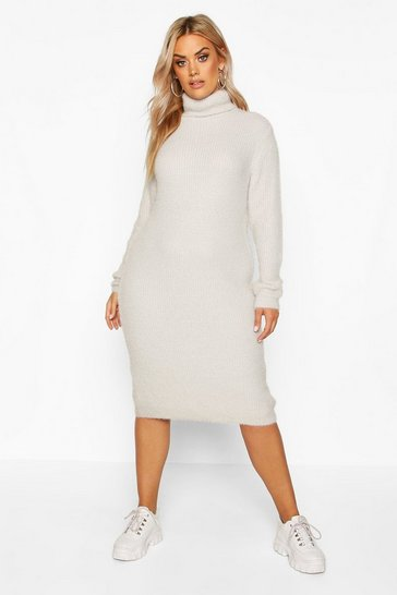 Light grey Plus Premium Soft Knit Roll Neck Midi Jumper Dress