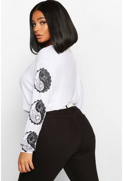 Womens White Plus Sun and Moon Ying Yang Longsleeve T-Shirt