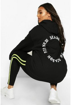 Womens Black Plus New Season Fit Back Slogan Hooded Sweat