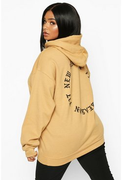 Womens Camel Plus New Season Fit Back Slogan Hooded Sweat